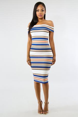 Striped Off The Shoulder Midi Dress