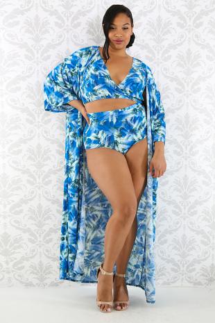Ocean Leaf Robe Swim Set