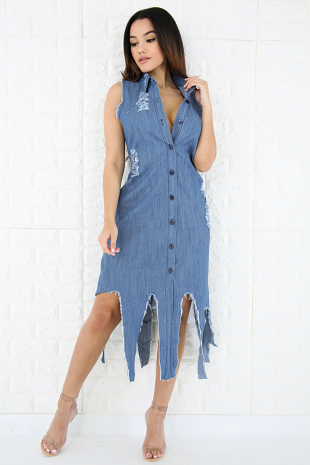 Edgy Distressed Denim Dress