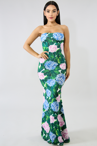 Hydrangea Strings Maxi Dress