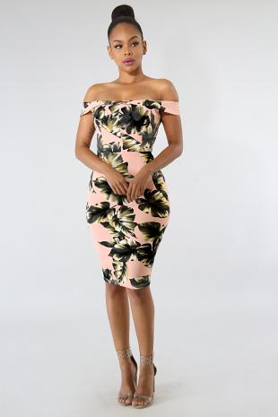 Leaf Body-Con Dress