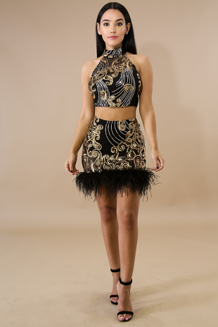 Sequin Feather Swirl Skirt Set