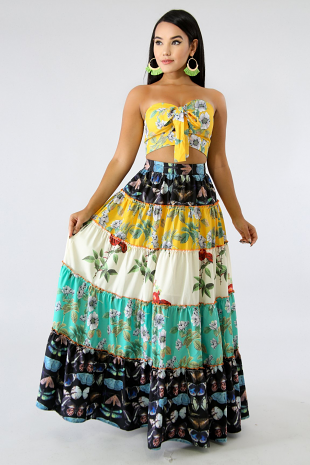Butterfly Rose Skirt Set
