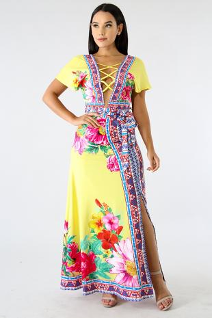 Floral Aztec Slit Maxi Skirt Set