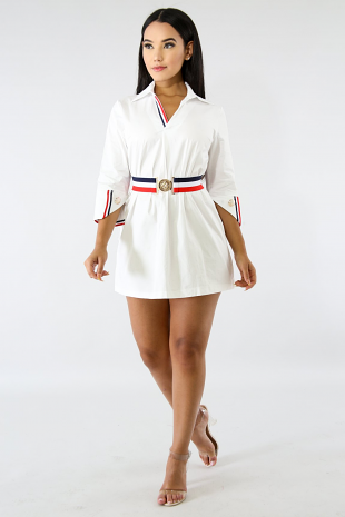 Sleek Stripe Belt Dress
