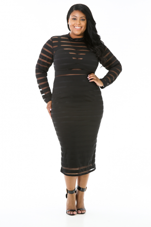 Stripped Mesh Midi Clear Dress
