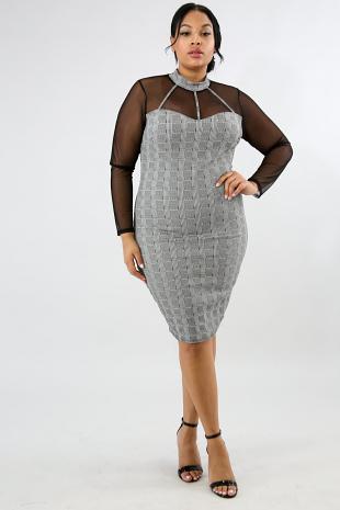 Sheer Plaid Body-Con Dress