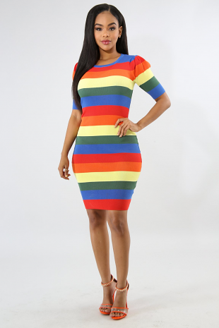 Rainbow Striped Knitted Dress