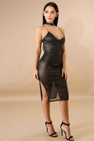 Sheer Sparkle Dash Body-Con Dress