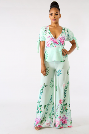Sweet Floral Blossom Palazzo Set