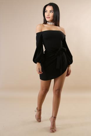 Off Shoulder Slit Body-Con Dress