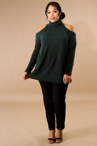 Cowl Neck Sparkle Knit Top