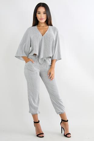 Striped Kimono Pant Set