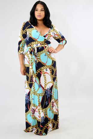 Chain Long Sleeve Maxi Dress