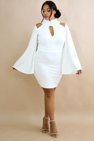 Wide Bell Body-Con Dress