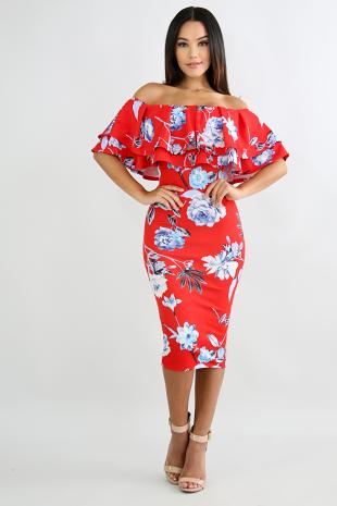 Deep Blue Floral Bodycon Midi Dress