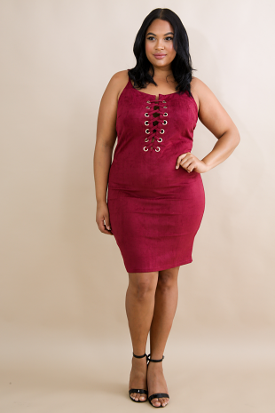 Suede Body-Con Dress