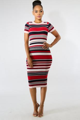 Curvy Rib Knit Midi Dress