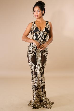 Royalty Sequin Mermaid Maxi Dress