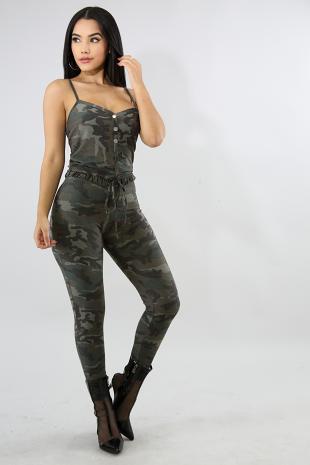 Camouflage Button Jumpsuit