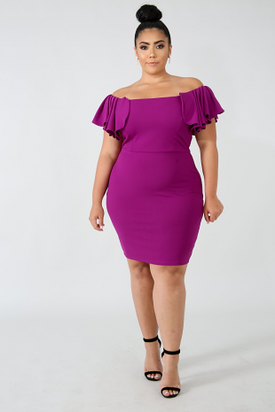 Pleated Cap Sleeve Body-Con Dress
