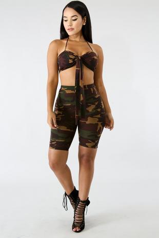 Camouflage Capri Set