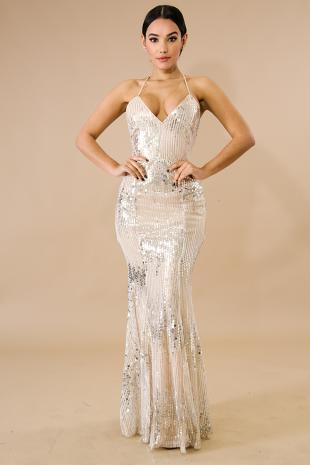 Sequin Circles Maxi Dress