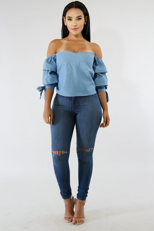 Denim Like Off Shoulder Top