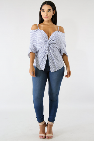 Off Shoulder Twist Stripe Top