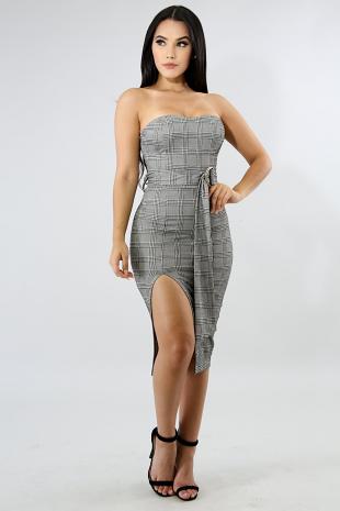 Plaid Slit Body-Con Dress