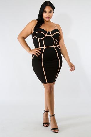 Trim Figure Body-Con Dress
