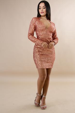 Sequin Sparkle Body-Con Dress