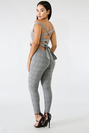 Plaid Lace Back Jumpsuit
