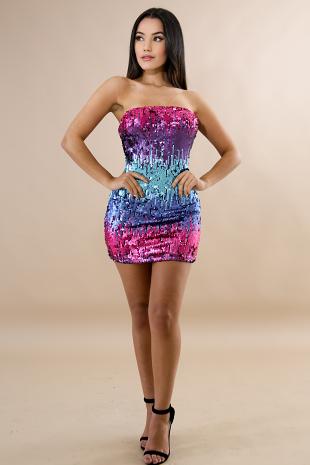 Sequin Color Palette Mini Dress