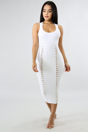 Ribbed Lace Up Body-Con Dress