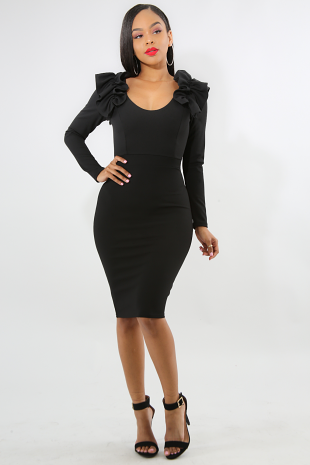 Scrunched Pleat Body-Con Dress