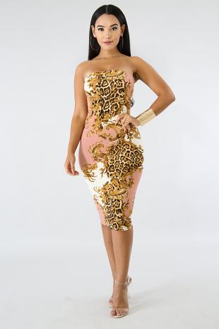 Filigree Tube Midi Dress