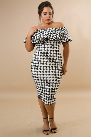 Off Shoulder Checkered Body-Con Dress
