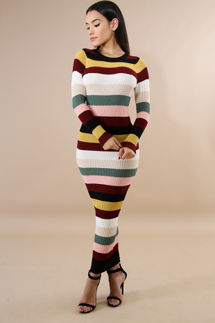 Color Striped Rib Knit Body-Coon Dress