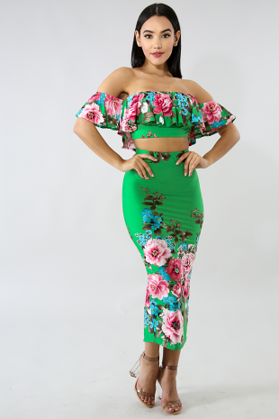 Floral Waters Skirt Set