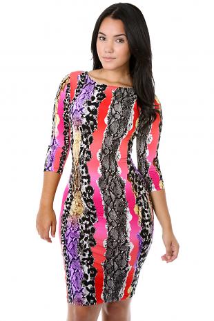 Multiple Snake Skin Bodycon Dress