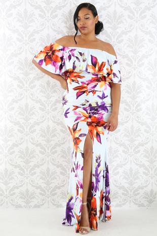 Tropical Floral Scrunch Bardot Maxi Dress