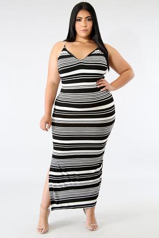 Stripe Maxi Jersey Dress