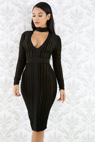Striped Velvet Choker Dress