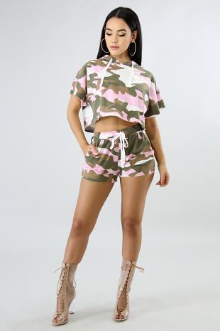 Pink Camouflage Short Set