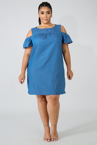 Cold Shoulder Denim Dress