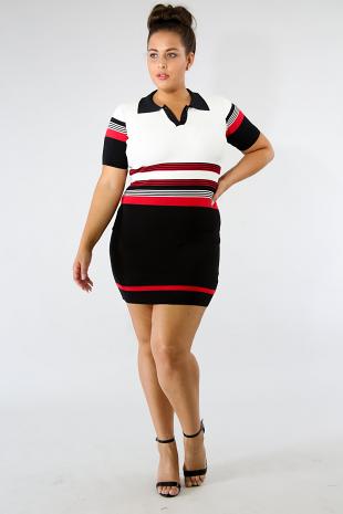Collard Button Knit Dress
