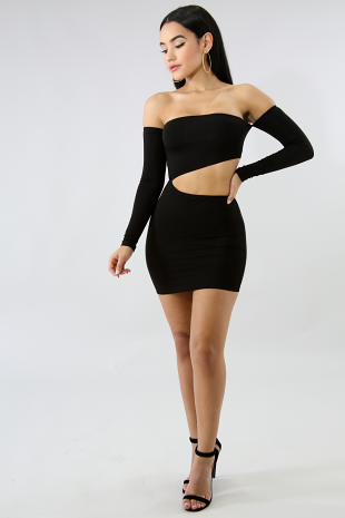 Edgy Off Shoulder Cut Out Body-Con Dress
