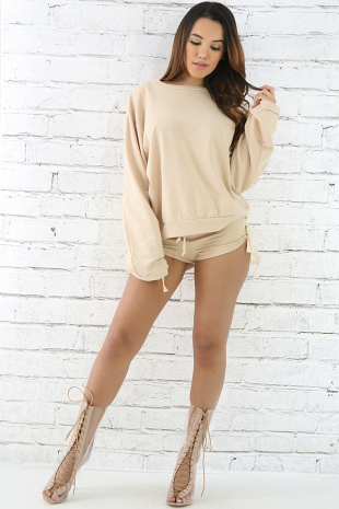 French Terry Knit Side Eyelet Tie Short Set
