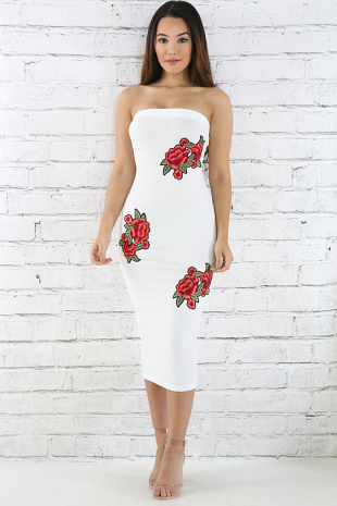 Embroidery Rose Tube Dress